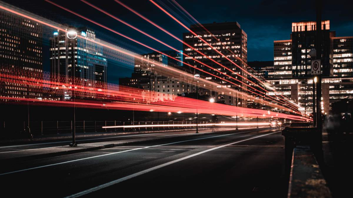 Long exposure of fast moving cars